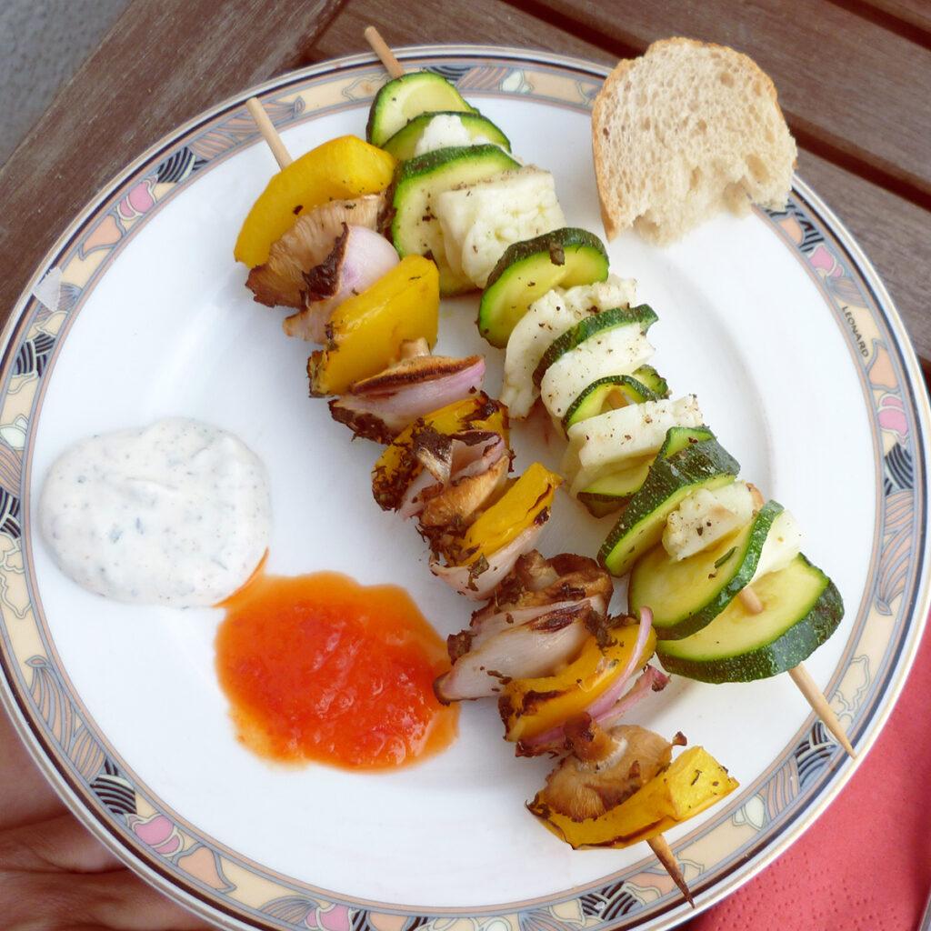Vegetarische Gemüsespieße