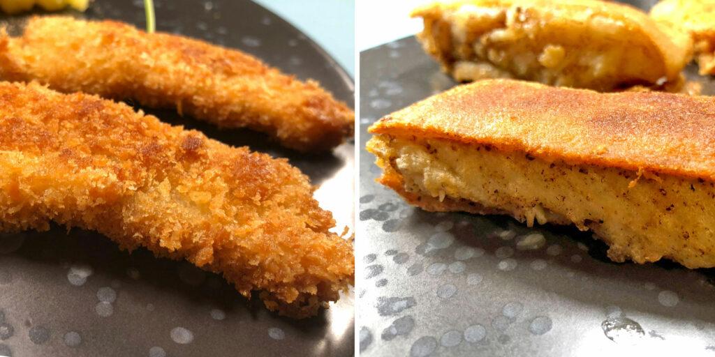 Fischstäbchen mit Panko und mit Toastbrot