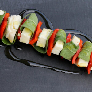 Gemüsespieße grillen: Haloumi, Paprika, Salbei | Koch für 2!
